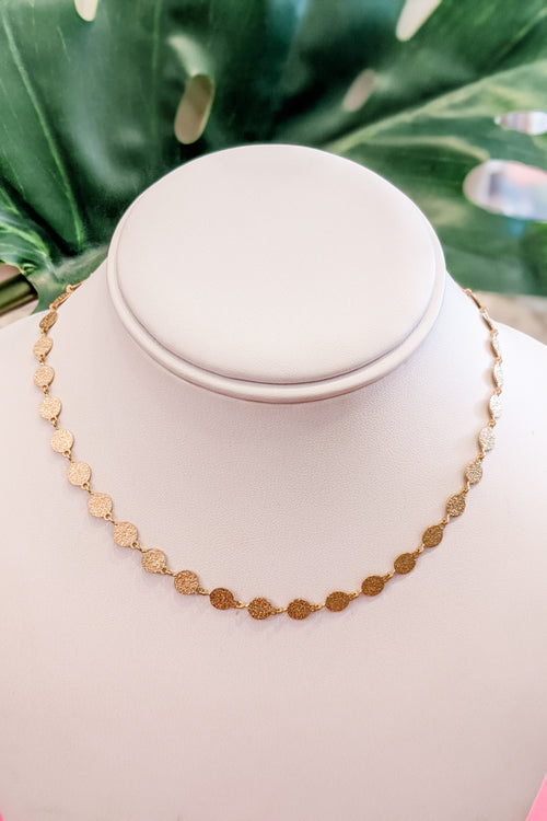 Multi Textured Disc Choker - Gold