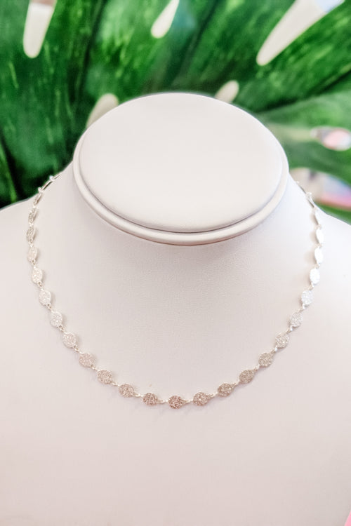 Multi Textured Disc Choker - Silver