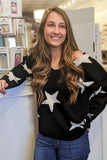 Must Be Cozy Star Print Sweater - Black