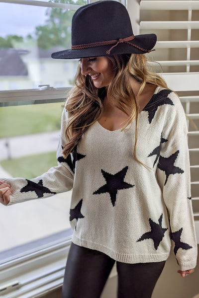 Must Be Cozy Star Print Sweater - Ivory