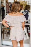 My Biggest Wish Off Shoulder Printed Romper - Lt. Taupe