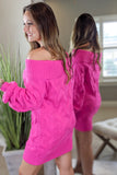 Never Give Up Off Shoulder Sweater Tunic - Fuchsia