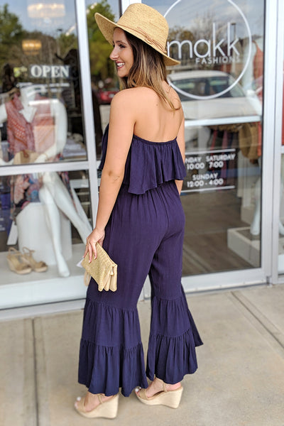 Nights at the Beach Strapless Jumpsuit - Navy