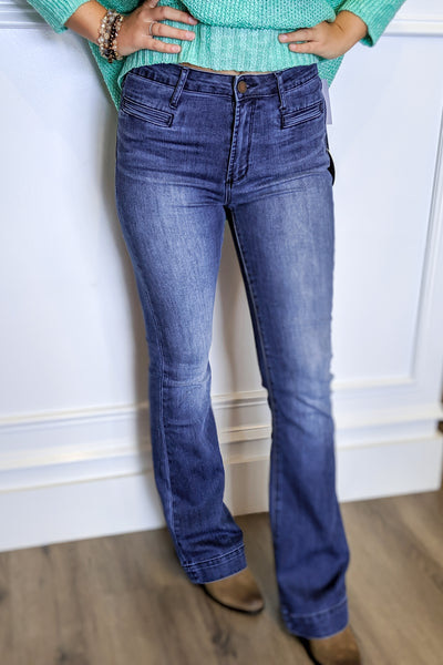 Articles of Society: Olive High Rise Flare Jeans - SFO