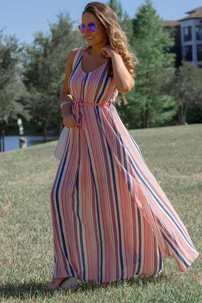 On Beach Time Striped Maxi - Multi