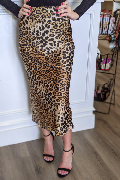 On the Prowl Leopard Print Midi Skirt - Taupe