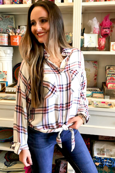 Only Yours Plaid Collared Top - Off White