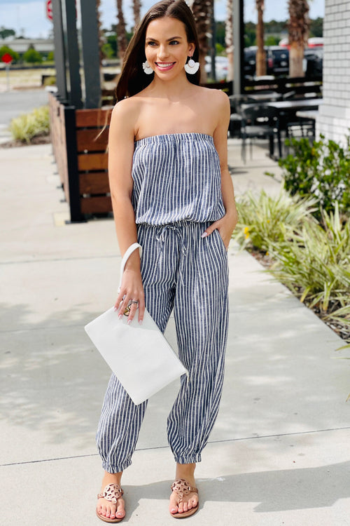 Open Seas Strapless Striped Jumpsuit - Blue
