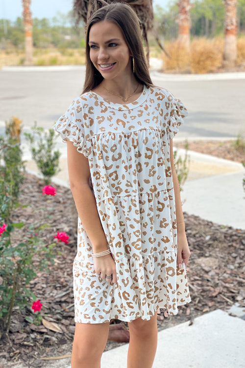 Out in the Wild Leopard Print Tiered Dress - Sand