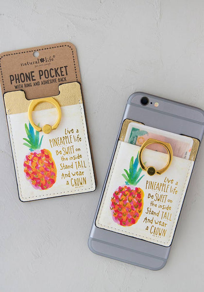 Natural Life Live a Pineapple Life Phone Pocket Ring