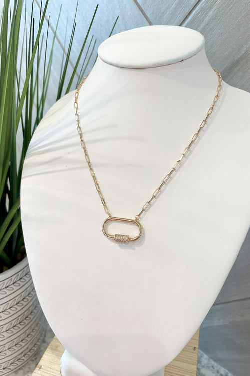 Pave Carabiner Pendant Necklace - Gold