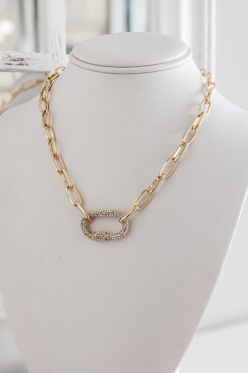 Paved Crystal Carabiner Necklace - Gold