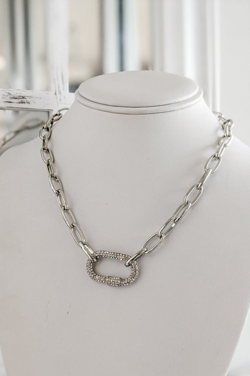 Paved Crystal Carabiner Necklace - Silver