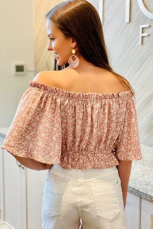 Peaceful Gardens Ditsy Floral Print Off-Shoulder Crop Top - Rose