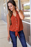Perfectly Poised Sleeveless Top - Rust