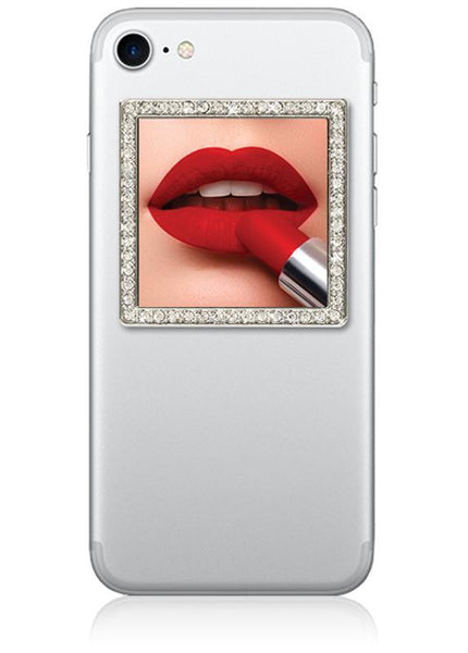 Silver Square with Crystal Phone Mirror