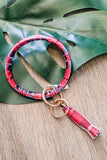 Plaid Leather Key Ring Bracelet - Red
