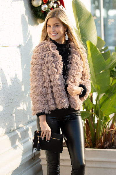 Poised & Polished Faux Fur Jacket - Mocha