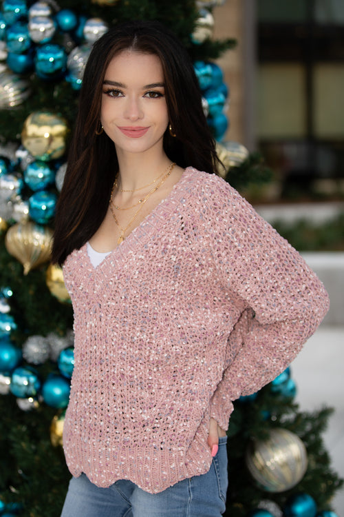Pull Me Closer Chenille V-Neck Sweater - Mauve