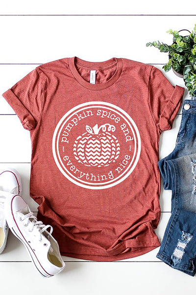"""Pumpkin Spice and Everything Nice"" Graphic Tee - Heather Clay"
