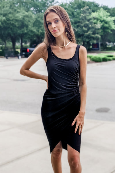 Raise Your Glass Ruched Side Sleeveless Dress - Black