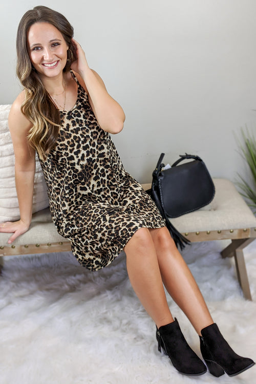 Ready for the Hunt Leopard Print Dress - Brown