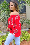 Ready to Blossom Off Shoulder Top - Chili Powder