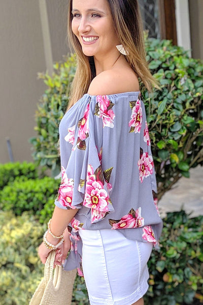 Ready to Blossom Off Shoulder Top - Cool Gray