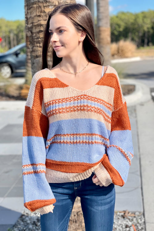 Ready for Fun Striped V-Neck Sweater - Blue Combo