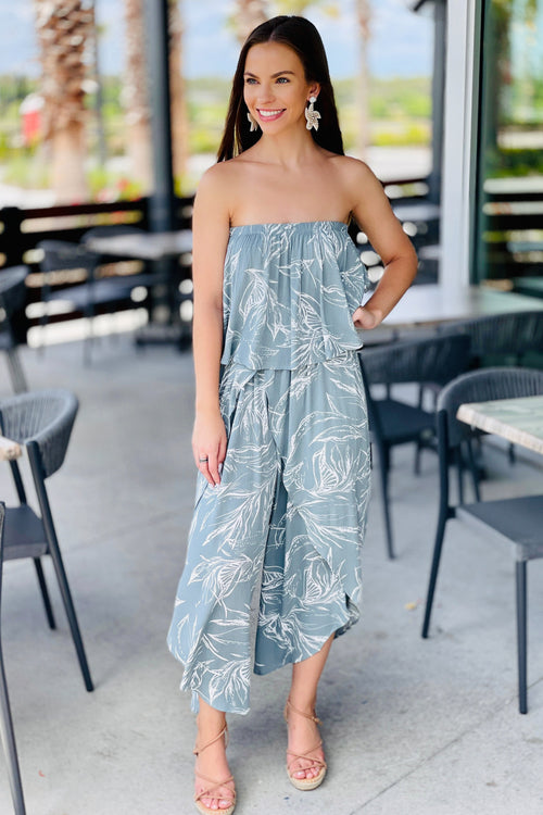 Ready for Vacay Ruffle Strapless Printed Jumpsuit - Sage