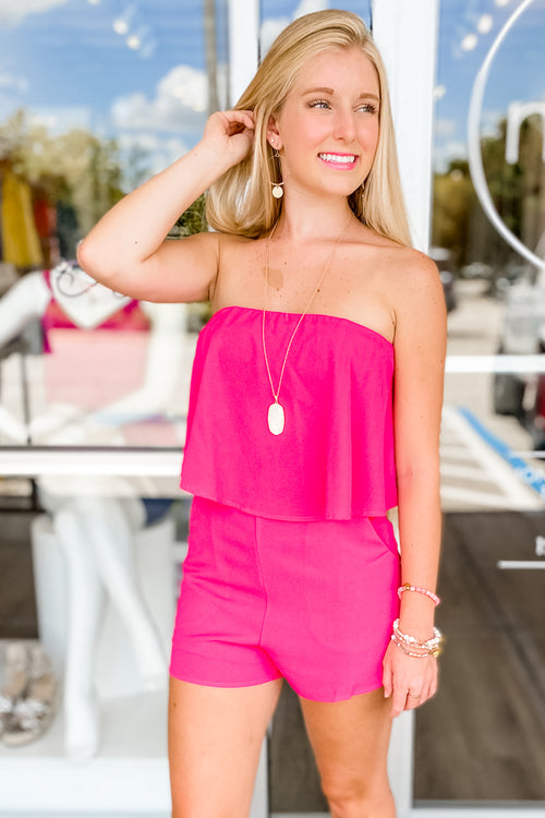 Ready to Brunch Strapless Layered Romper - Fuchsia