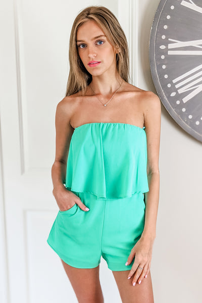 Ready to Brunch Strapless Layered Romper - Jade