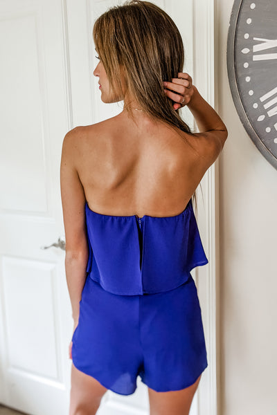 Ready to Brunch Strapless Layered Romper - Royal Blue