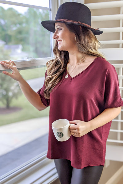 Relaxed Evenings V-Neck Top - Burgundy
