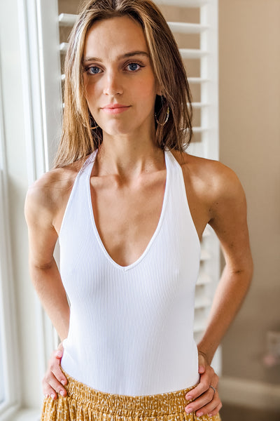Ribbed Halter Bodysuit - White