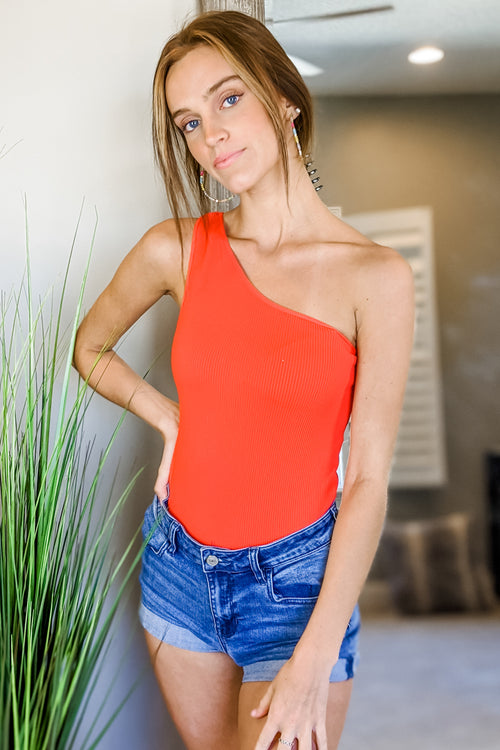 Ribbed One Shoulder Bodysuit - Fiery Red
