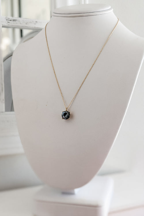 Round CZ Pendant Necklace - Black