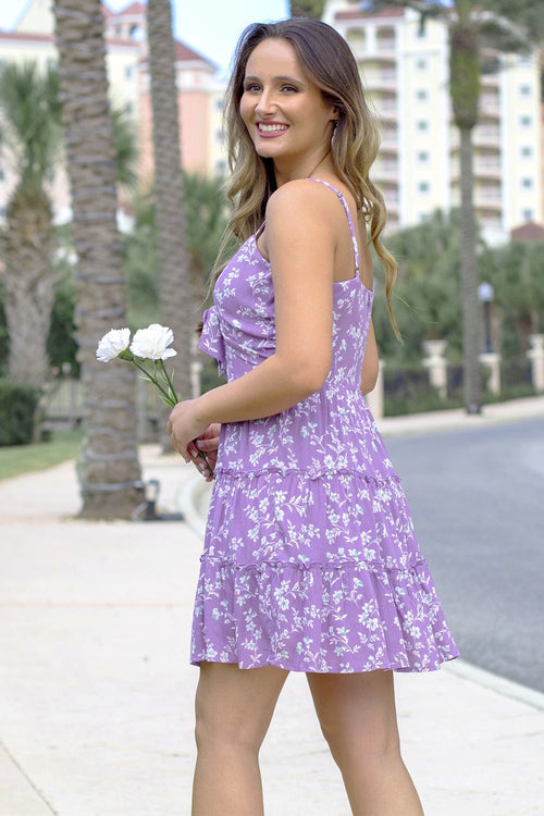 Ruffle in Roses Dress - Lavender