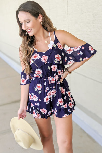 Ruffled Romance Floral Print Romper - Navy