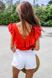 Run to Love Ruffle Trim V-Neck Crop Top - Rust