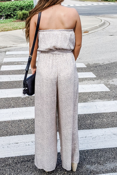 Rush Into It Printed Strapless Jumpsuit - Lt. Taupe