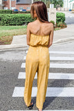 Rush Into It Printed Strapless Jumpsuit - Yellow