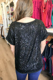 Search Your Heart Sequin Top - Black