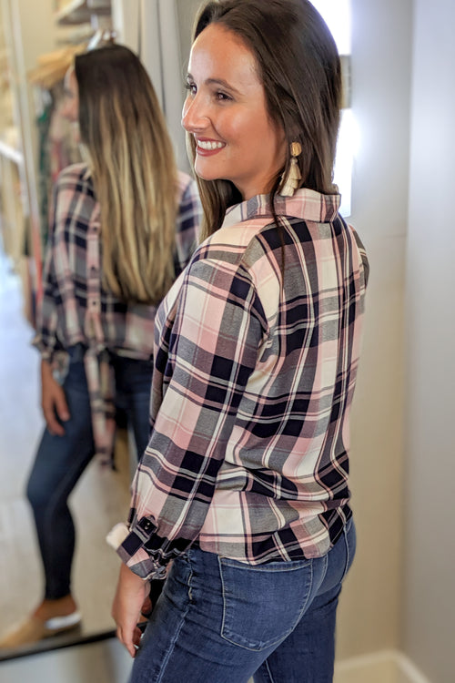 Searching for Love Plaid Top - Dusty Pink