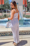 Seaside Days Striped Jumpsuit - Blue/White