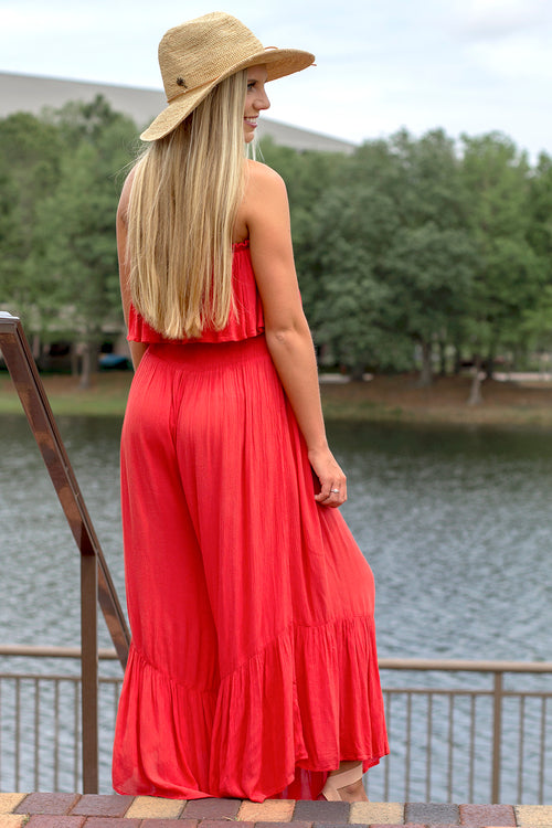 Seaside Trends Strapless Jumpsuit - Coral