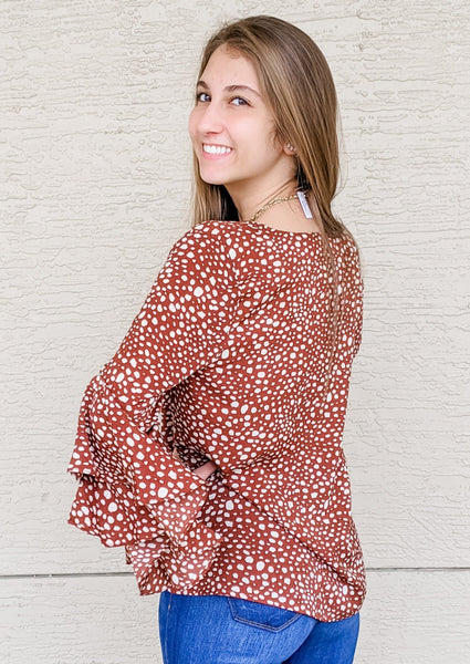 See You Soon Spot Print Ruffle Sleeve Top - Brown