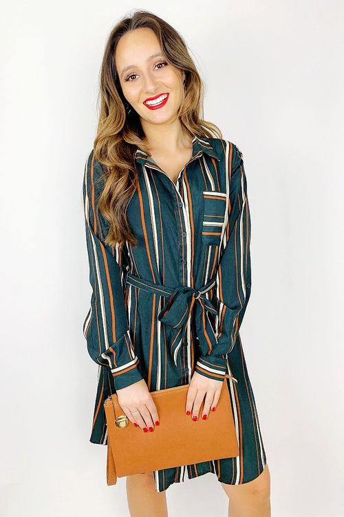 Seeing Stripes Dress - Hunter Green