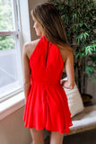 Send My Love Sleeveless Romper - Red