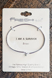 Sentiment Bracelet: I am a Survivor - Silver